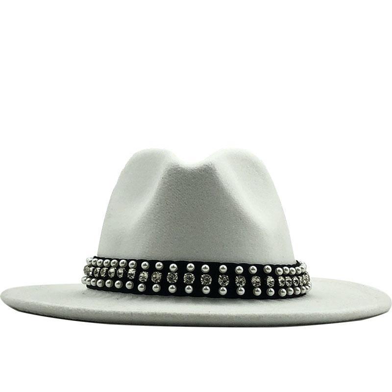 حار رجل إمرأة صوف بريم على نطاق واسع ورأى فيدورا بنما قبعة مع حزام بوكلي جاز تريلبي حزب كاب قبعة رسمية في الوردي والأبيض