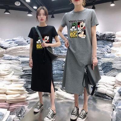 over-the-diz rahat altında DyvWc Yaz kısa kollu çocuk elbise zhe du L uzunluğu kadın moda T-GÖMLEK ELBİSE çocuklar