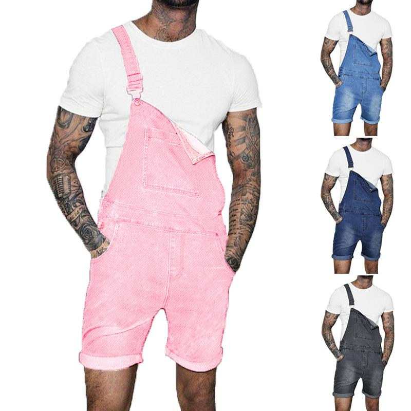 Uomini Denim Bib Workwear denim tuta con Pocket delle tute pagliaccetti della tuta di jeans degli uomini alla moda con le bretelle