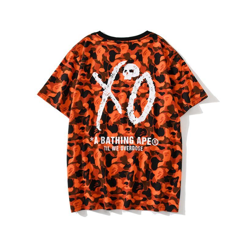 Verão New Adolescente Casual Laranja Camo em torno do pescoço T-shirt Homens Mulheres Personalidade solto Carta Imprimir manga curta T-shirt