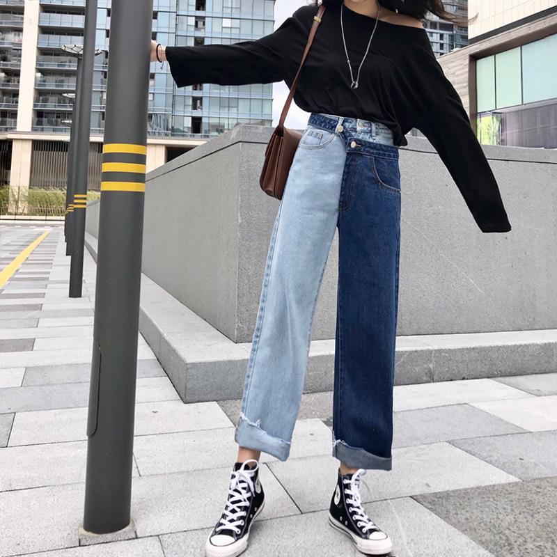 Korean retro lässig Harajuku zweifarbige Nähte Denimhose Frühling Art und Weise neue hohe Taille hübsch gerade breite Beinhosen