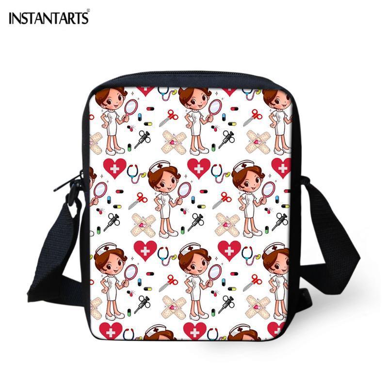 INSTANTARTS heiße Art Karikatur-Druck-Messenger-Beutel-Frauen-Mann-beiläufige Flap Kleine Schultertasche Marken-Designer-Mini-Handtaschen