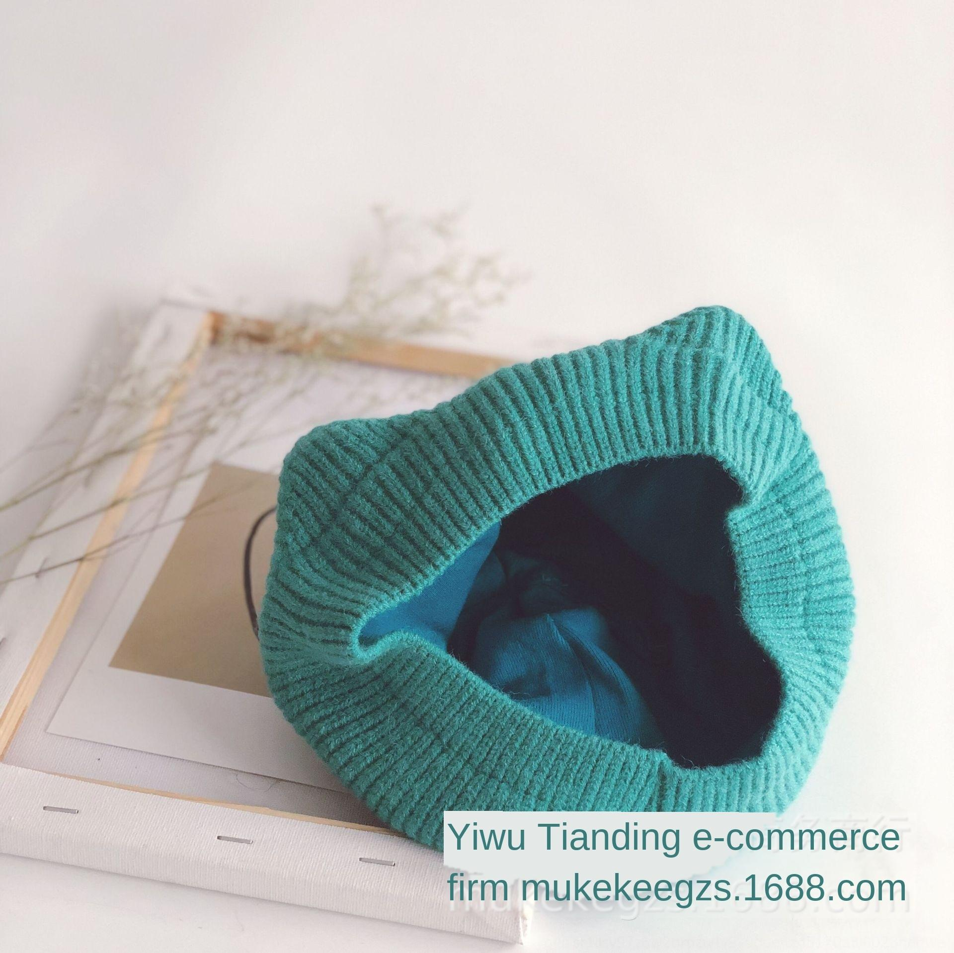 ins same three-dimensional cat ear tail solid color children's hat all-match baby knitted beret Wool beret wool hat