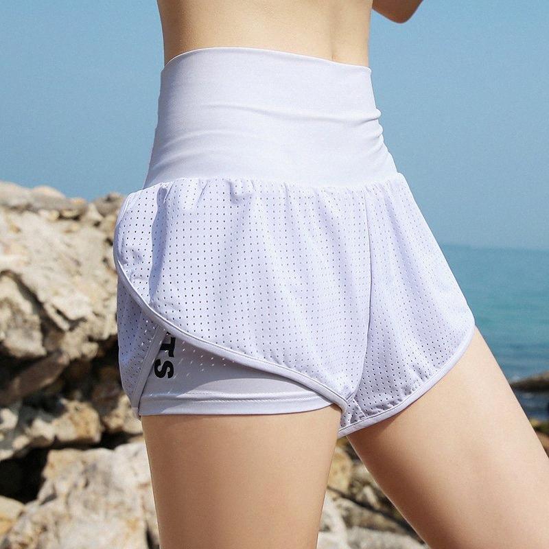 Femmes d'été Sport Shorts taille haute plage short de course Faux Deux rapide Yoga sec Gym pantalons courts Vêtements de sport Fitness 2vLG #