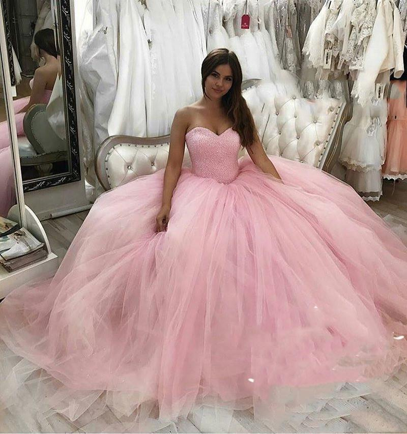 Pink Masquerade Sweet 16 Quinceanera Dresses Ball Gown Corset Sequined Beaded Puffy Tulle Arabic Vestidos De 15 Anos Pageant Prom Gowns