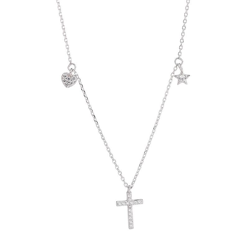 Y S925 стерлингового серебра корейский Цирконий крест ожерелье неосновных дизайн Прекрасные звезды кисточкой ключицы цепи Один MOQ1