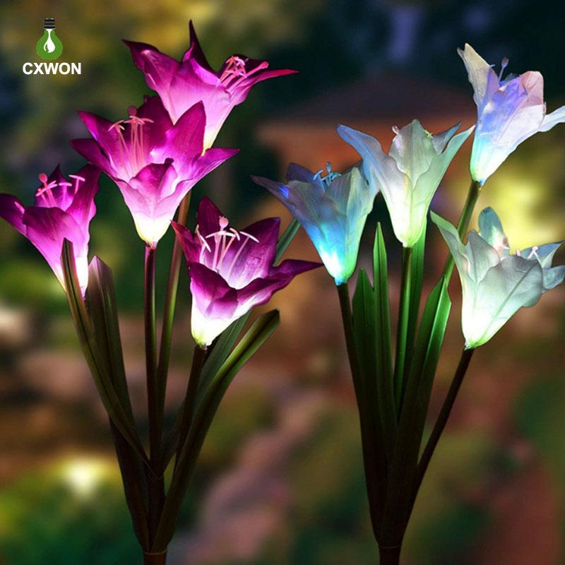 Solar Lily Artificial Flower Waterproof Colorful Outdoor Decorative Flower LED Landscape Lawn Lights for Garden Courtyard Pathway