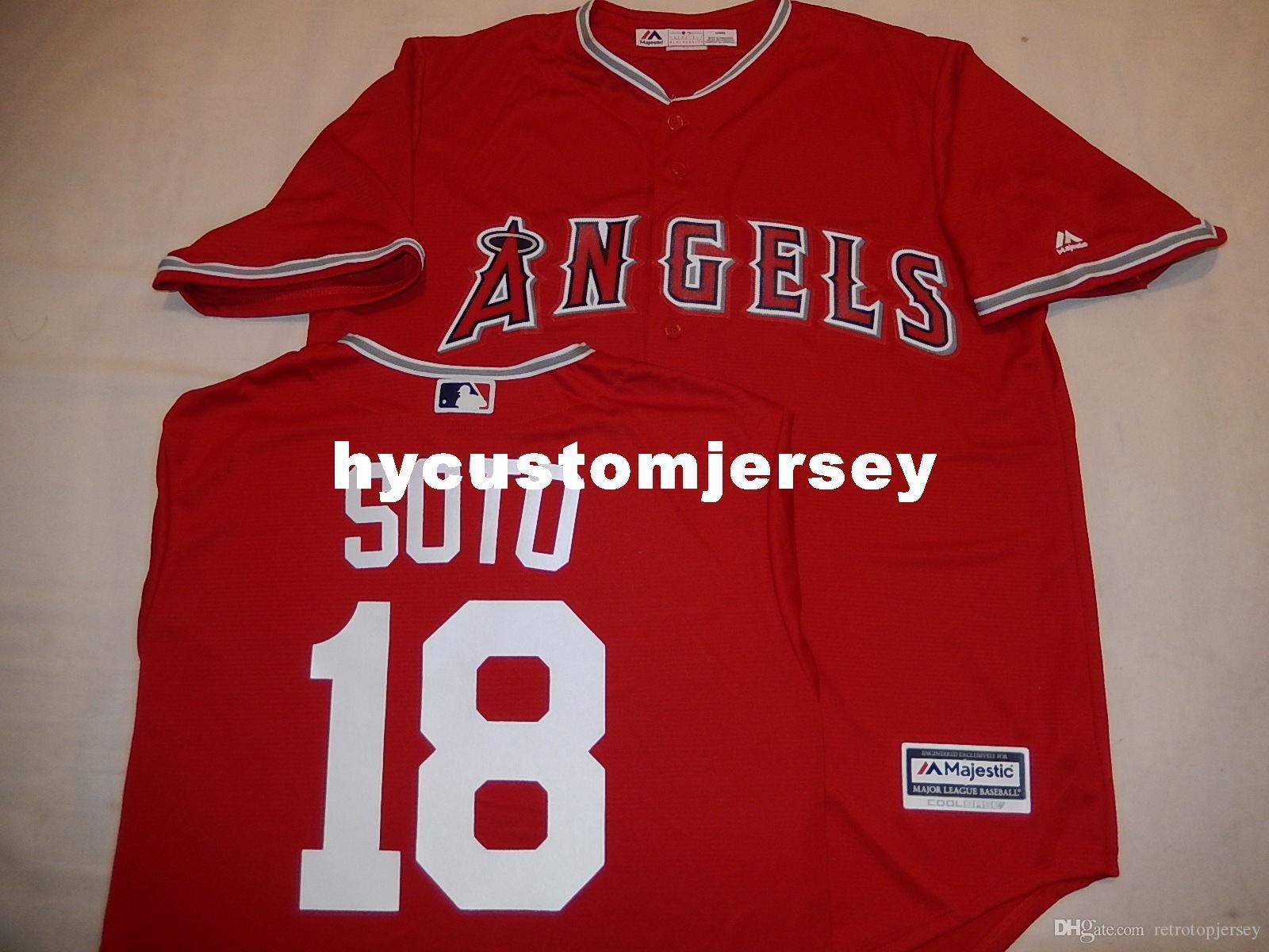 "barato costume MAJESTIC # 18 geovany SOTO ""COOL BASE"" Jérsei de basebol Red Mens costurados camisas grandes e tamanho Alto XS-6XL Venda"