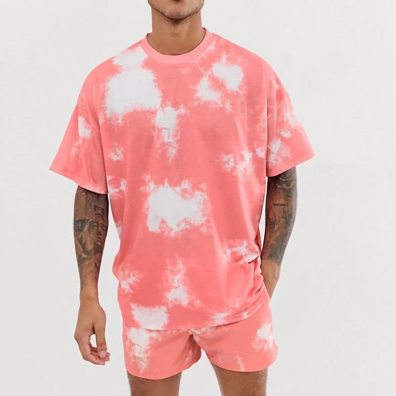 Feitong 2 шт Outfit Комплект мужской одежды Спорт Комплект с коротким рукавом Tie-краситель печати Tracksuit Короткие повседневные рубашки Sportswears