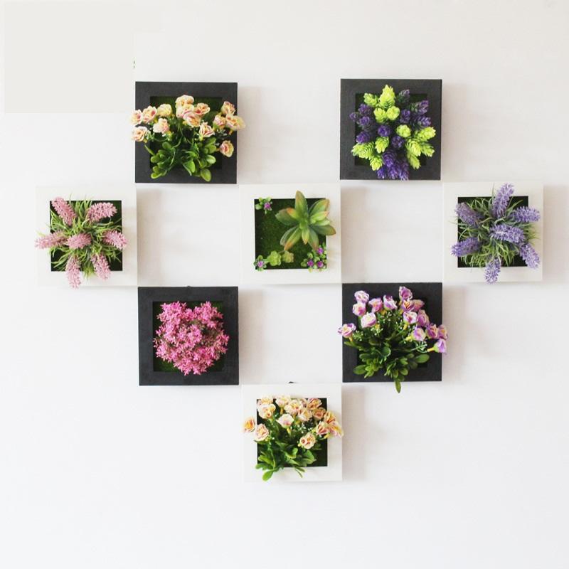 Plant PCS 3D Planta Flowers Living Home Decor Frame Frame Wall Artificial 1 Fallo de Arte Mural Sticker Sticker Room / Decoración de la boda Uojsu