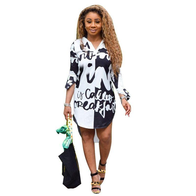 Tasarımcı Gömlek Modelleri Moda Letter Doğal Bel Bayan Tasarımcı Gömlek Elbise Günlük Yarım Kol Dişiler Giyim Womens