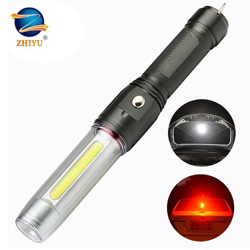 Чжиюй Авто Ремонт Магнит LED Мощный Белый Красный Свет T6 COB Фонарь 3 Режимы постоянного тока Аккумуляторная лампа Рабочая фонарик