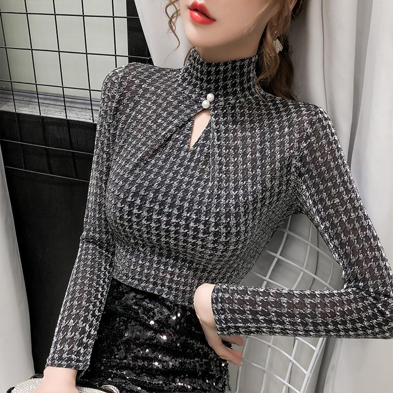 2020 Spring Summer Elastic Shiny Clothes Houndstooth T-shirt Sexy Hollow Out Women Tops Ropa Mujer Bottoming Shirt Tees T02313