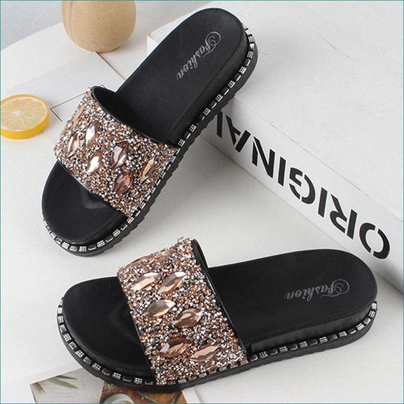 Women Crystal Diamond Bling Summer Elegant Slides Slipper Sandals Beach Shoes Women Shoes Flip Flops Sandalias Mujer#S sI7x#