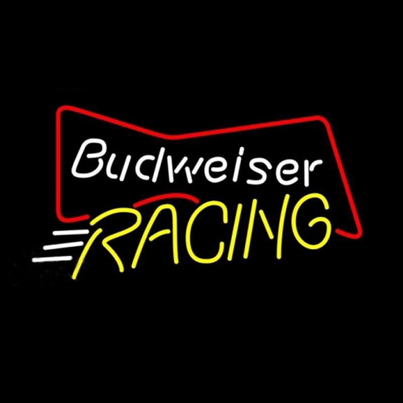 "Budweiser Racing Bowtie Neon Sign Handmade Custom Real Glass Tube Restaurant Sport Beer Bar KTV Store Decoration Display Neon Signs 17""X14"""