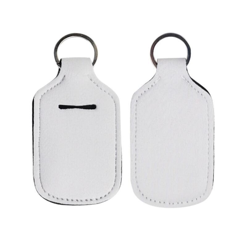 Impresión en blanco Colores de neopreno Jabón Líquido soporte para botella de desinfectante de manos 30ml titular de la botella llavero envío LX2555