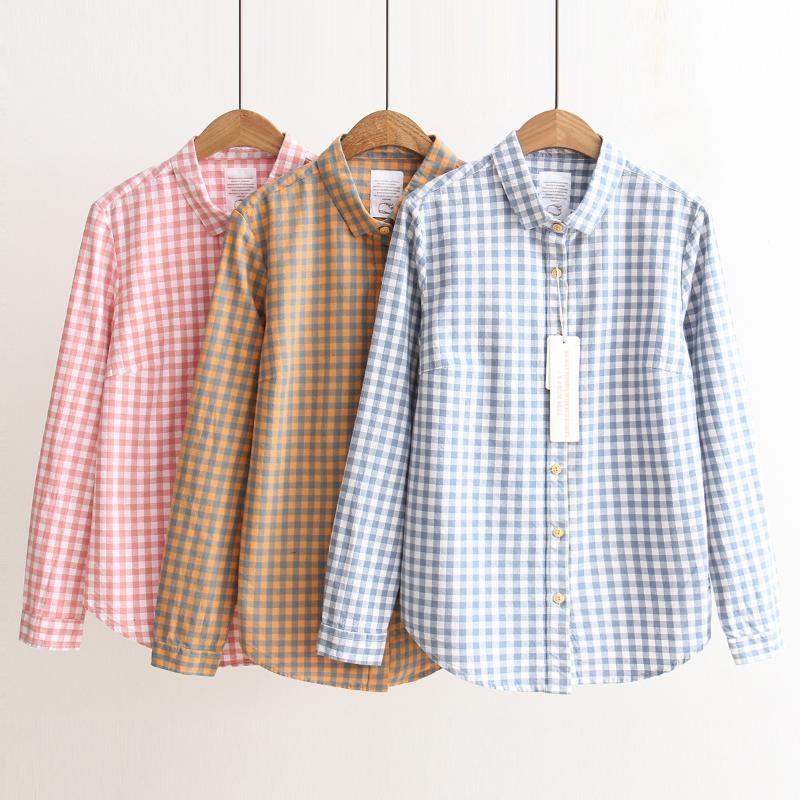 Осень Женской моды Малого Plaid Повседневное Все матч Рубашка Рубашка с длинным рукавом нагрудной
