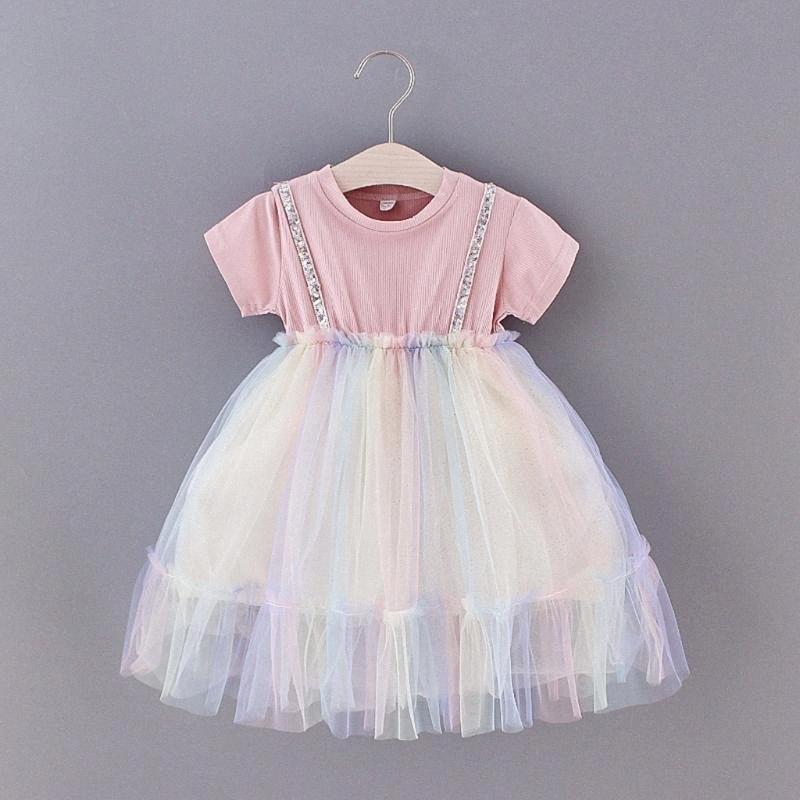 abito estivo del bambino del bambino delle neonate manica corta Arcobaleno di Tulle principessa Dress vestiti nuovi nati casuali quotidiani Jp0c #