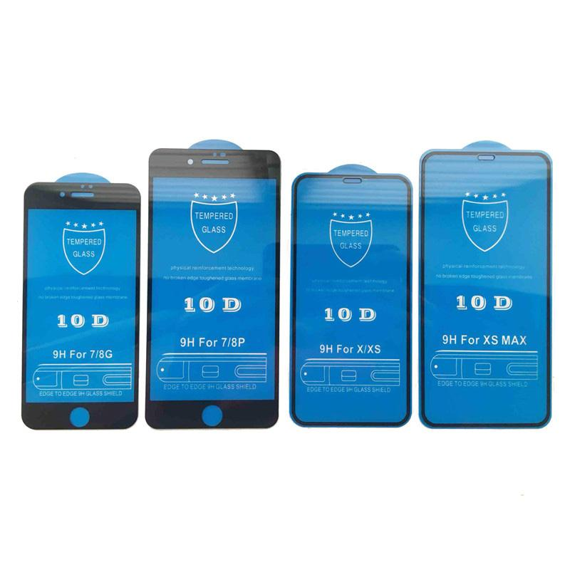 شاشة 100PCS 10D غطاء كامل حامي 9H الزجاج المقسى من ألياف الكربون حامي شاشة آيفون X 6 7 8 6S زائد إكسس ماكس