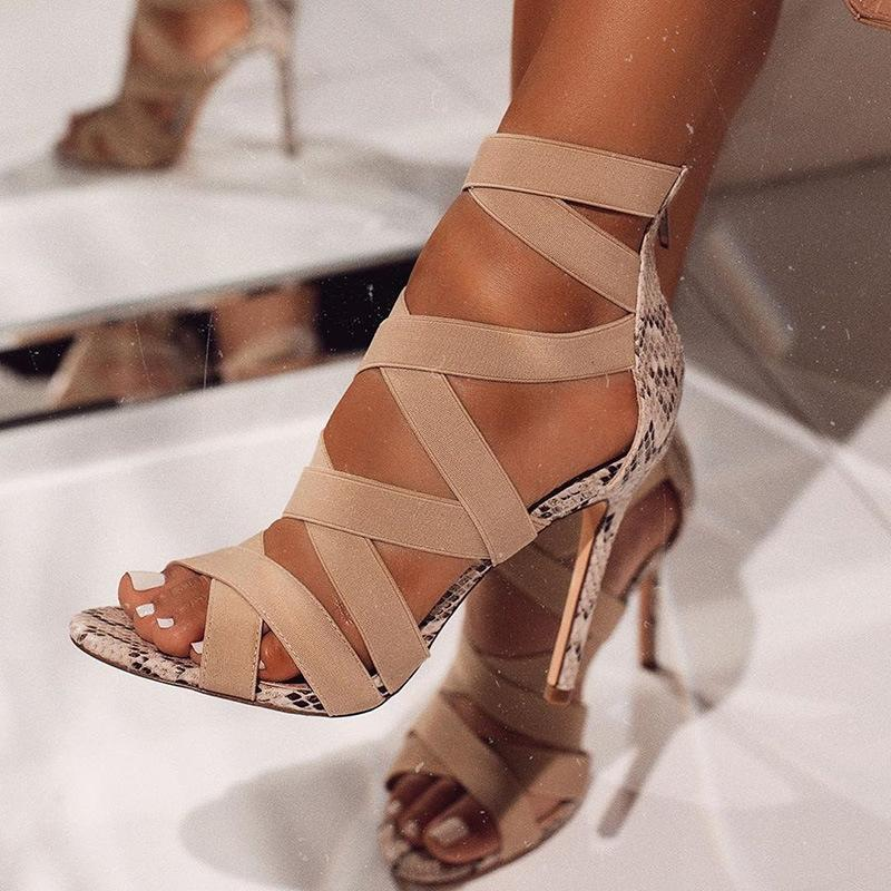Kadın Bayan Moda Bandaj Patchwork Karışık Renkler Yılan Yüksek Topuklar Sandalet pompaları Günlük Ayakkabılar size37 ~ 43