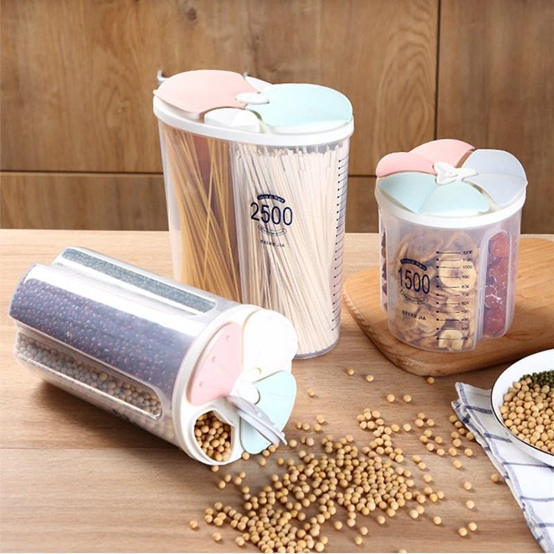 Plastic Kitchen Cereal Dispenser Storage Box Rotating Dry Food Rice Container Storage Case Flour Grain Storage Bottle Jar