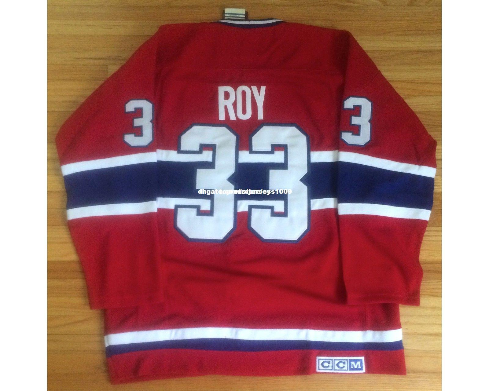 Cheap custom CCM Montreal Canadiens Patrick Roy Stanley Cup Centennial Jerseys Mens Personalized stitching jerseys