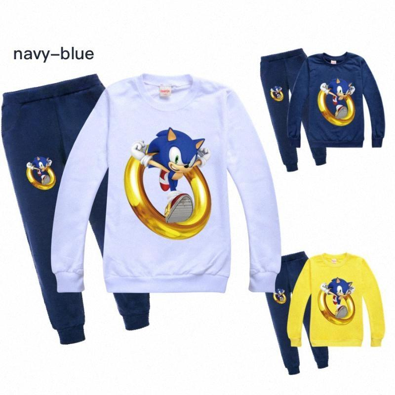 New child Tracksuit Autumn boy Clothing Sets Children Boys Girls Sonic The Hedgehog Clothes Kids Hooded T-shirt Pants 2Pcs Suits JGES#