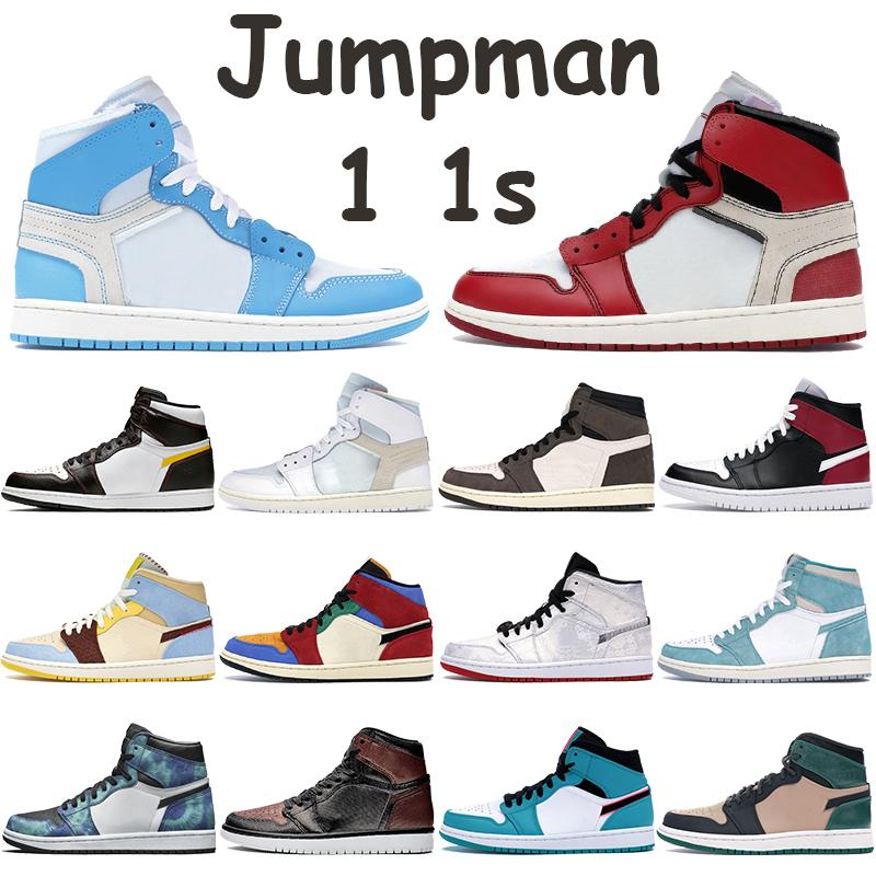 With Box 1 1s Jumpman Basketball Shoes Mens Sneakers UNC Powder Blue Chicago White Travis Scotts Fearless Bio Beige Black Noble Red Trainers