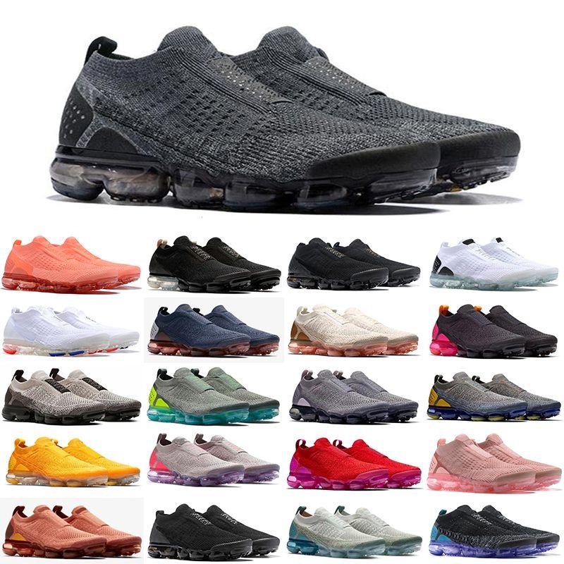 2021 Chaussures Moc 2 Laceless 2.0 러닝 신발 트리플 블랙 디자이너 남성 여성 운동화 비행 화이트 니트 반응 쿠션 트레이너 Zapatos