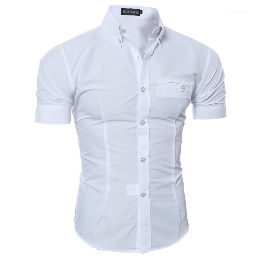 Mens de las camisas de manga corta de negocios formal adelgazan las camisas casual color sólido solo pecho Homme Tops verano
