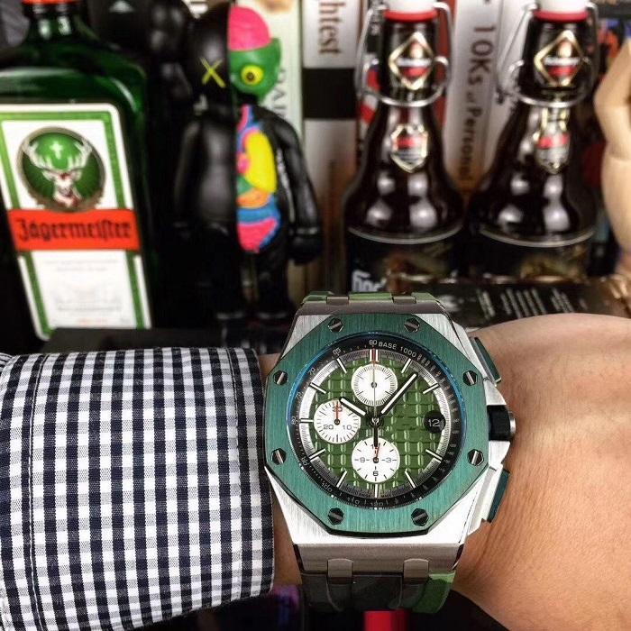 Высокая версия Offshore 26400SO.OO.A002CA.01 Timing Дата Циферблат черный корпус сталь Япония VK Кварцевый хронограф Мужские часы каучуковый ремешок Часы