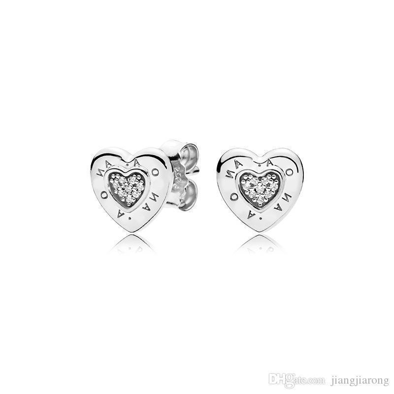 PE80 pandor orecchino classico logo del cuore 925S singoli puro argento caldo di vendita atmosfera di modo per il regalo di compleanno di Natale amante orecchini