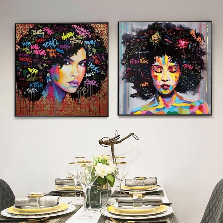 Salon Modern Ev Dekorasyonu için Wall Art Resim Boyama Moda Pop Art poster Baskılar Patlayıcı Afro saç Afrikalı Kadın Tuval