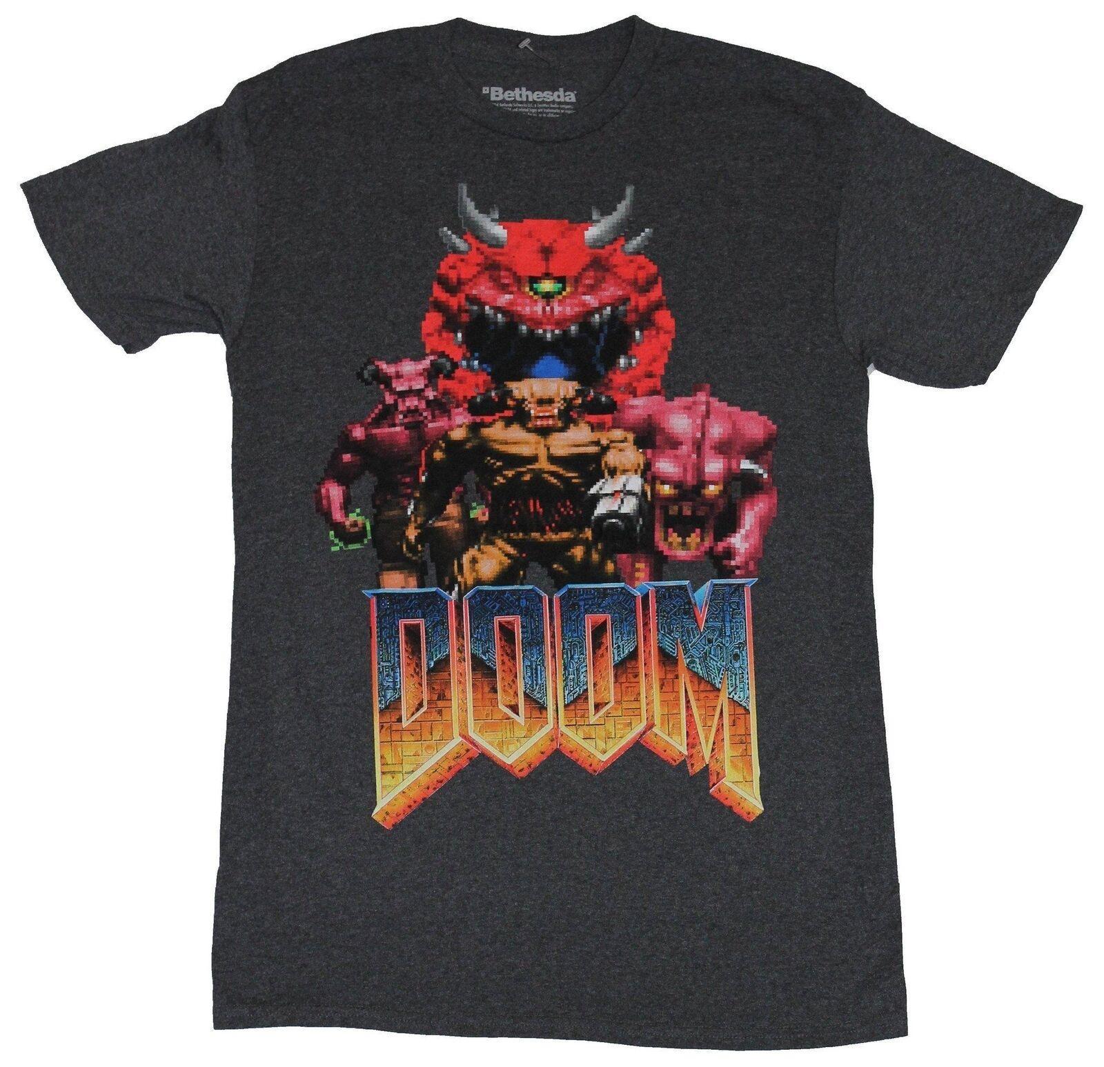 Doom Bethesda Herren T-Shirt - Original Doom Charaktere Over Logo Bild Männer Frauen-T-Shirt Kostenloser Versand Unisex Fashion