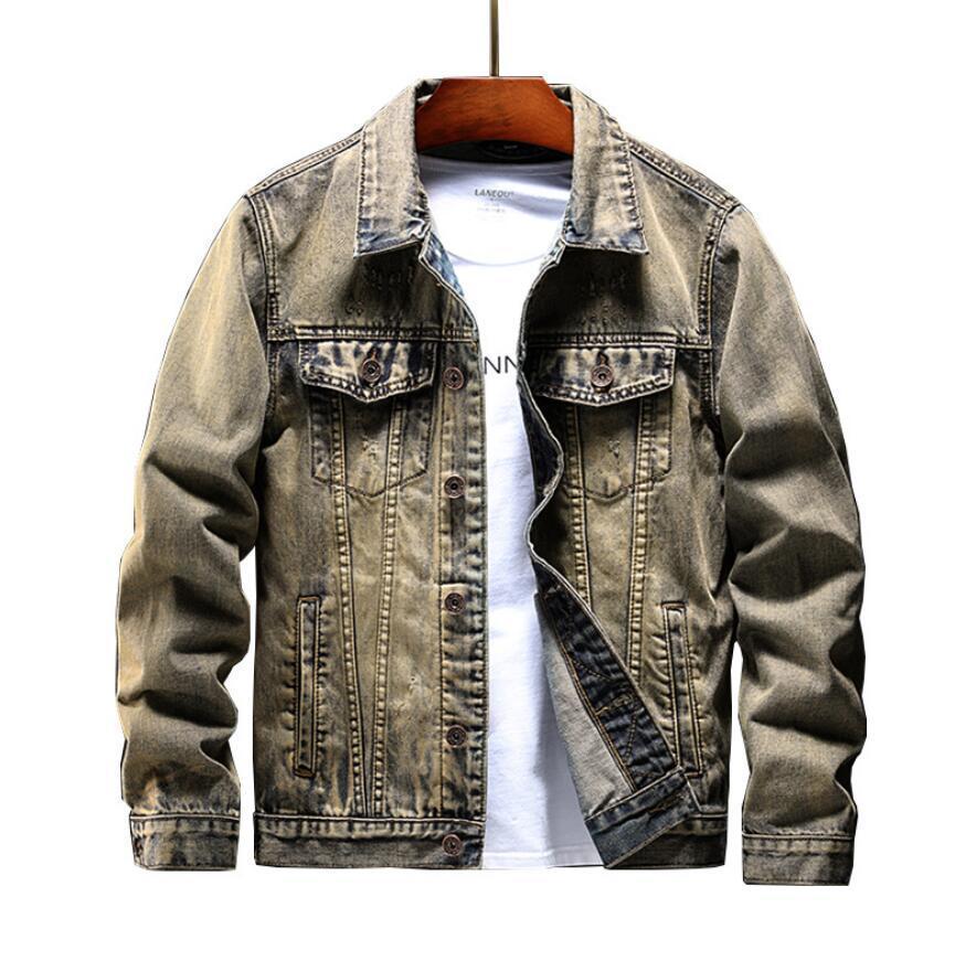Men Spring New Jean Jackets Hip Hop Ripped Designer Denim Blue Coats embroidery Long Sleeved Single Breasted Jacket mens Clothing