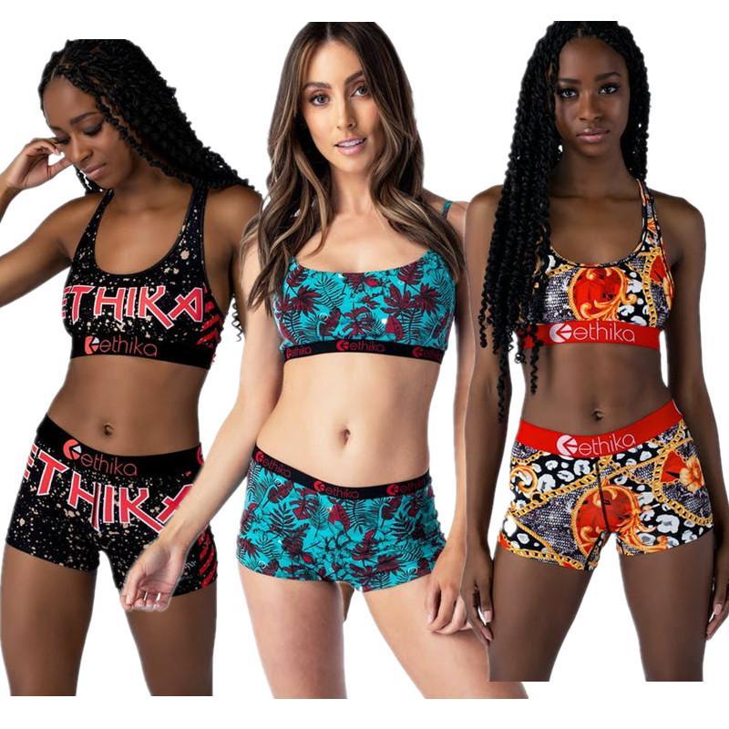 Adatti a donne costume da bagno Beachwear Stampa Lettera maglia di estate reggiseno + shorts di nuotata insieme a due pezzi del vestito di nuoto dello Swimwear superiore a 3 colori