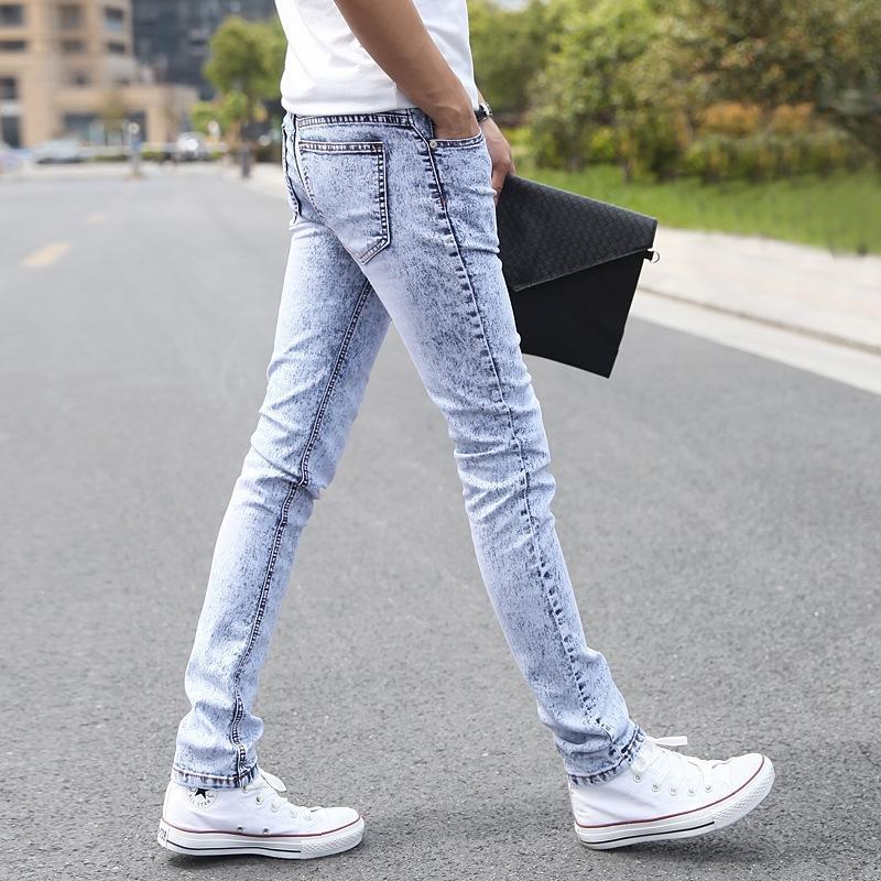 Kot Koreli sıkı kot dar pantolon ilkbahar ve yaz erkek streç tozluk Bai Xuehua tozluk gençler uzun pantolon