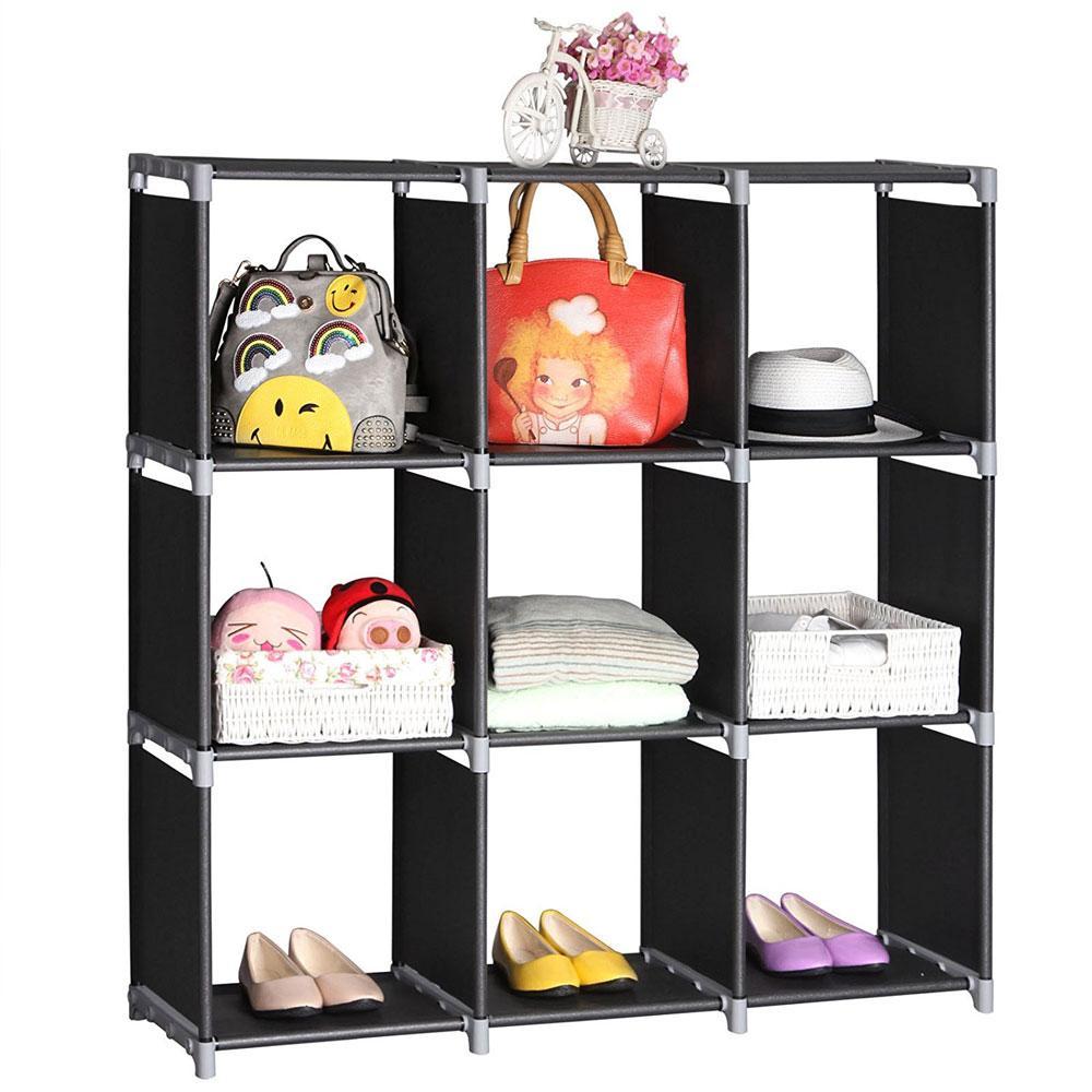 3 Tiers 9 Vano bagagli Cube Closet Organizer mensola 9 cubi Libreria bagagli Home Storage Rack Nero