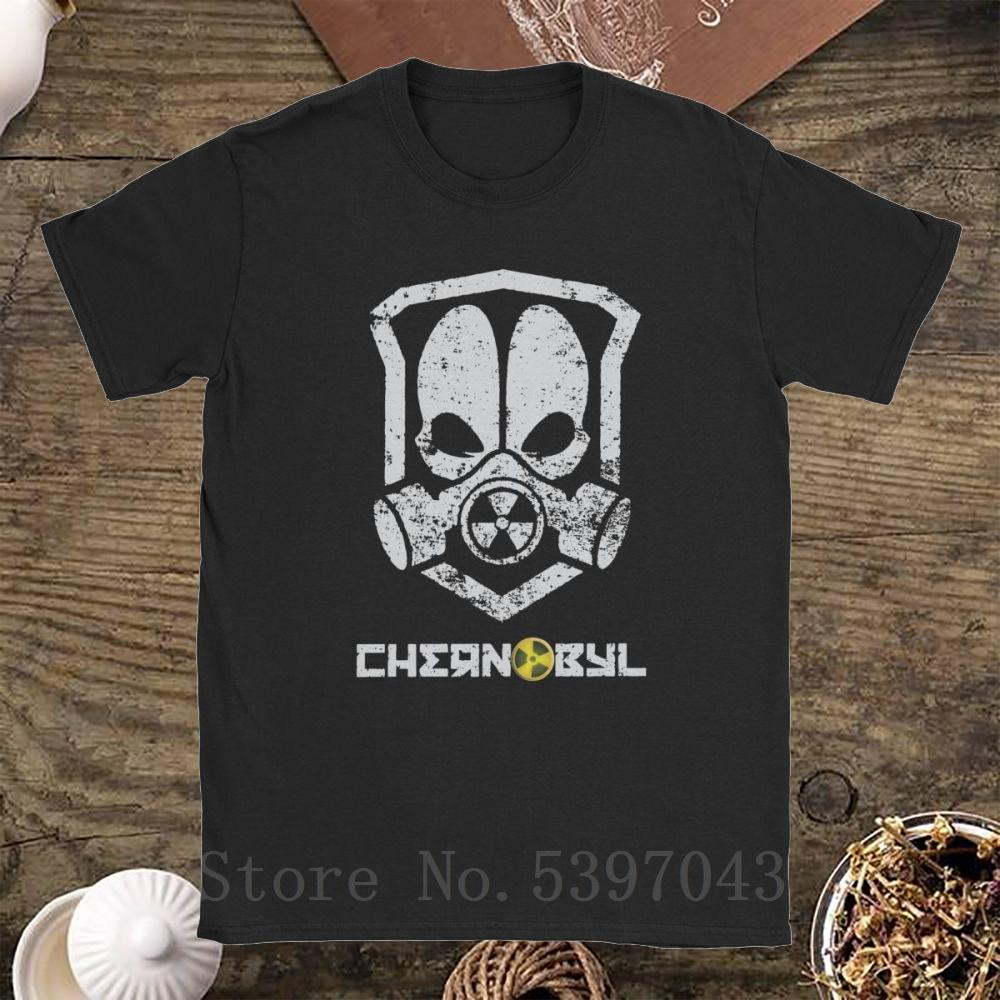 Chernobyl T Shirts Men Pure Clothing Amazing T-Shirt Disaster Nuclear Russia Ukraine Gas Mask Cccp Tees Cotton Short Sleeve