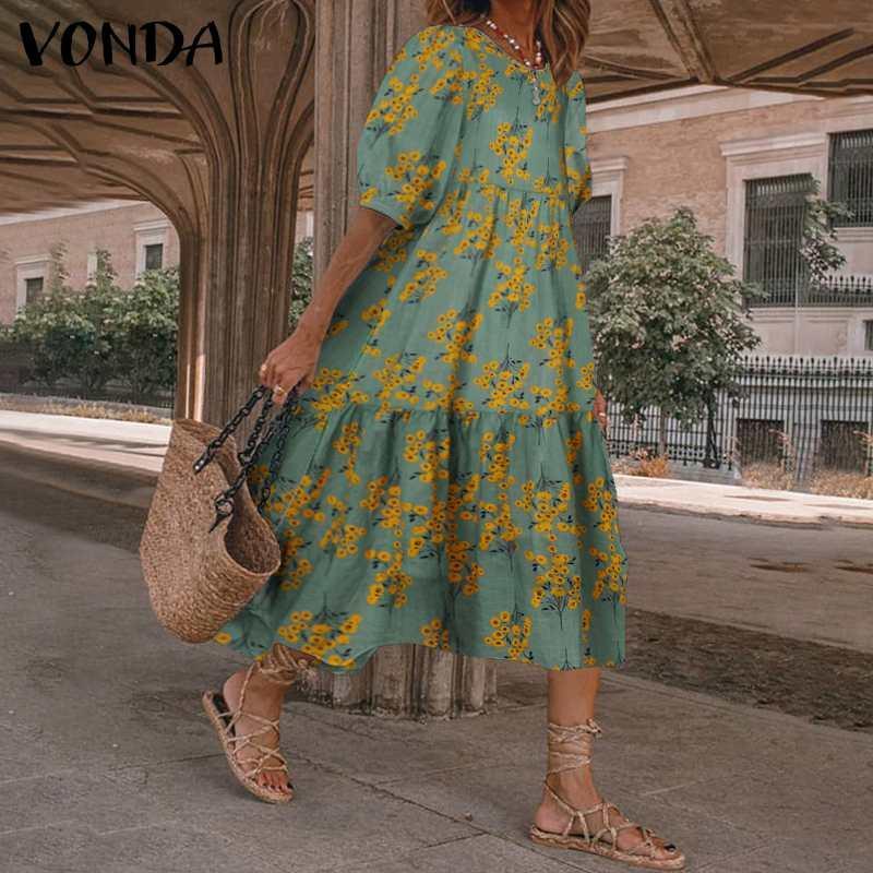 2020 vestido de las mujeres Flroal Verano Vestido de tirantes Linterna de la vendimia de la manga vestido de Midi VONDA informal de Bohemia Playa Vestidos túnica del tamaño extra grande