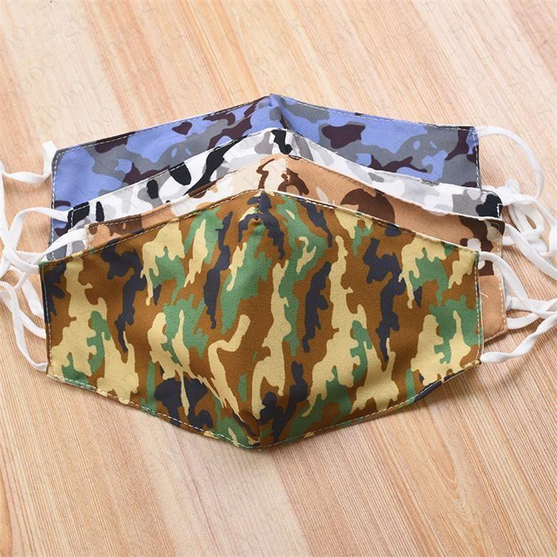 máscaras barato Camouflage Unisex Rosto Anti Poeira Haze dois pisos laváveis respirável ajustável Mulheres Verão