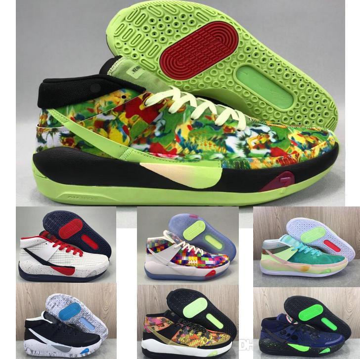 2020 أحذية الهواء رجل مدرب جديد KD 13 EP الأبيض رغوة الوردي المذعور أوريو ICE كرة السلة الأصل كيفن دورانت XI KD13 حذاء رياضة حجم 7-12