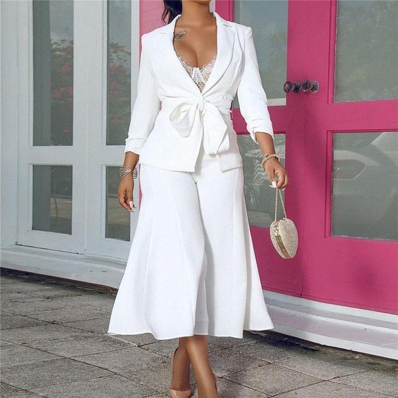 Белый Две пьесы костюмы Женщины наборы 2020 Spring Новая мода Blazer с широким Leg Pant Юбка Управление леди 2 шт Набор орденских лент z2tS #