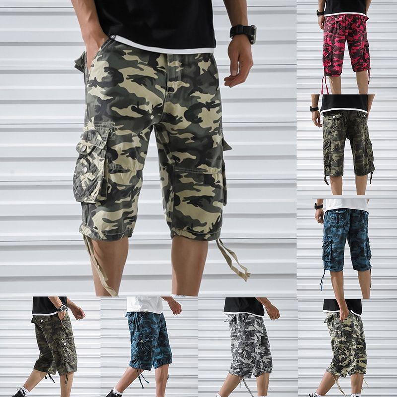 Erkek Yaz Pamuk Kargo Şort Moda Kamuflaj Erkek Şort Çok Cep Rahat Camo Açık Havada Tolling Homme Kısa Pantolon