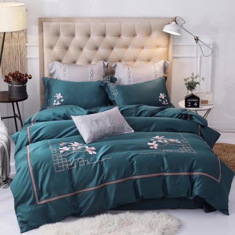 J2 aus ägyptischer Baumwolle chinesischen Stil Luxus Bettwäsche-Set, König, Dame Stickerei-Bett-Set Bettbezug Bettlaken Set parrure de lit