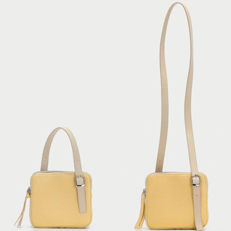 Super Hot deux tons Sac à bandoulière pour les femmes double face amant abricot jaune sac à main mode Sac à rabat de couleur contrastée Messenger Bag