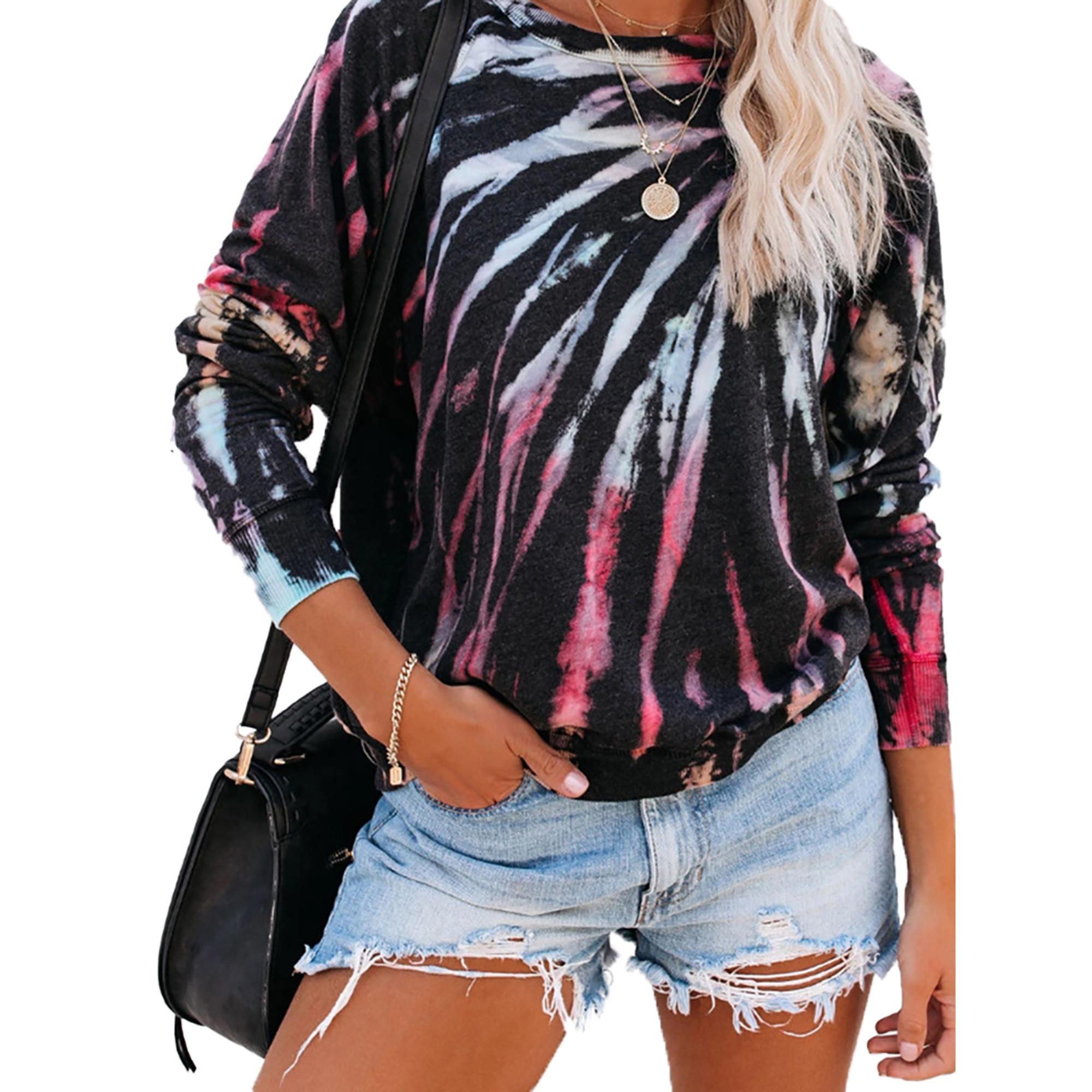 Le donne di modo di autunno Top manica lunga Stampa T Shirt allentato elegante Tee Shirt Femme signore Streetwear partito maglietta