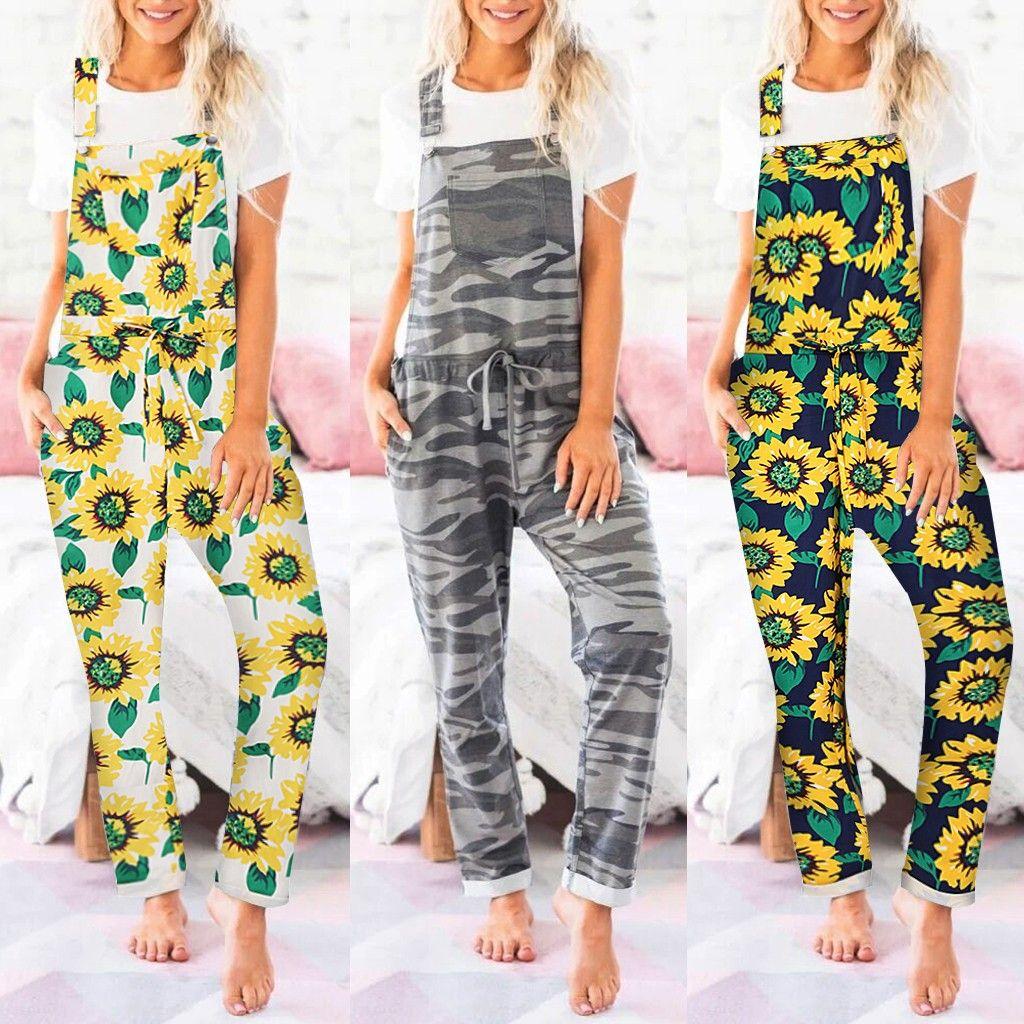 30h terno de salto Mulheres Girassol / Camo Jumpsuit Longa Pijamas Set bolso Oversized Bodysuit Macacão One Piece Playsuit Dropshipping