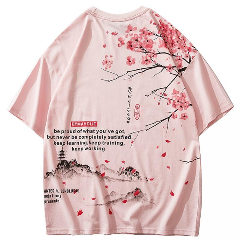 Januarysnow Men Hip Hop T shirt 2020 Streetwear giapponese Sakura pittura manica corta maglietta del cotone Estate Harajuku maglietta Japan Style Rosa