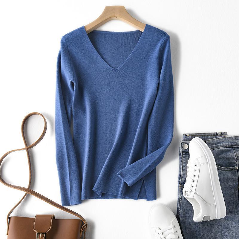 2020 женщин свитер осенью и зимой с длинными рукавами вязать случайный вязать V-образный вырез свитер сплошного цвета пуловеров женщин